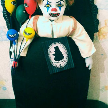 Free Shipping**Creepy Dead Zombie Clown Scary OOAK Horror doll Altered Porcelain Doll Spooky Odd Art Toy Haunted Spirited Witchcraft Evil