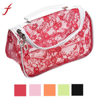 Portable Lace Hook Flower PVC Clear Beach Bags Toiletry Cosmetic Makup Case Bag IMY66
