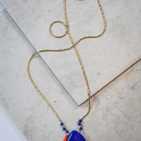 Blue Stone and Tassel Necklace in Gold
