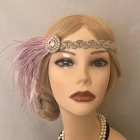 1920's purple ostrich fringe tiny white feathers pink rhinestone stone braided beige scroll white satin art deco flapper 1920s gatsby (701)