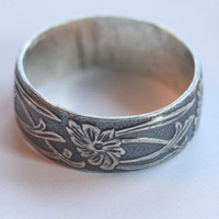 Flower Ring, Sterling Silver Floral Ring, Ribbon Ring, Wide Wedding Band, Size 9 Ring, Sterling Silver Flower Ring by Maggie McMane Designs
