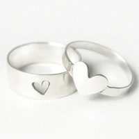 Silver Heart Couple Rings // Couple Jewelry // Promise Ring // Promise Rings // Promise Ring Set // His and Her Promise Ring Set // Hearts