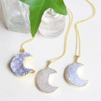 Gold Crescent Moon Druzy Necklace