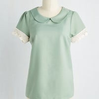Fairytale, Scholastic Mid-length Short Sleeves Surprise Tea Party Top in Sage