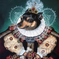 Sophia the Min Pin as Queen Elizabeth Art Print by When Guinea Pigs Fly | Society6
