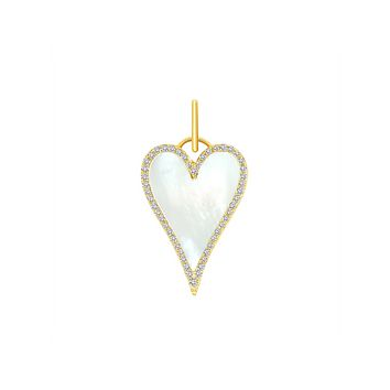 Chloe Mother of Pearl Heart Charm - 14k gold
