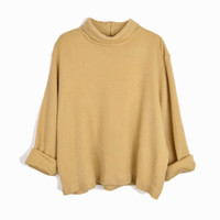 Vintage Oversized Turtleneck Sweater Top in Camel / Fuzzy Sweater - women's large