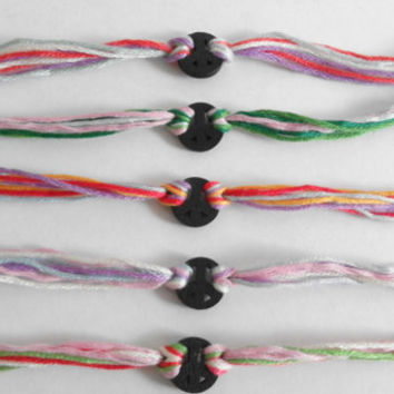 Multicoloured Tie-on Embroidery Floss Friendship Bracelet with Black Peace Charm