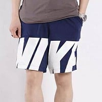 NIKE Summer Men Women Print Sports Running Shorts Blue