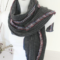 Long gray scarf, Steel gray scarf, Charcoal gray scarf, Gray knitted scarf, Christmas gifts men, Extra-long knit scarf, Warm winter scarf
