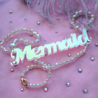 Radiant Acrylic and Pearls Mermaid Necklace by imyourpresent