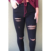 Kancan Black Distressed High Rise Jeans