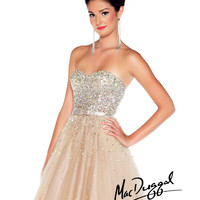 (PRE-ORDER) Mac Duggal 2014 Prom Dresses - Nude & Silver Rhinestone Sweetheart Strapless Tulle Gown