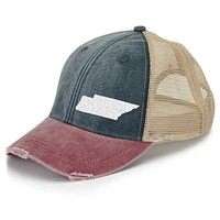 Offset Tennessee Trucker Hat - Distressed Snapback