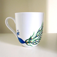 Peacock Coffee Cup- Hand Painted Porcelain Mug