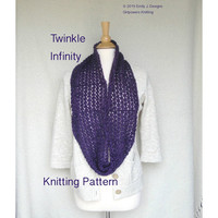 Twinkle Infinity Scarf Knitting Pattern, Lace Infinity Moebius Scarf, Light Worsted Yarn