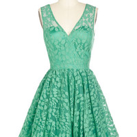 ModCloth Mid-length Sleeveless Fit & Flare Darling, Please Dress in Jade