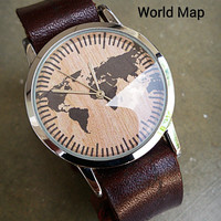 Custom watches world watch map Leather Watch for Men - Whatever,Wrist Watch Women - Unisex Watch - Handmade Bracelet Watch - Birthday Gift