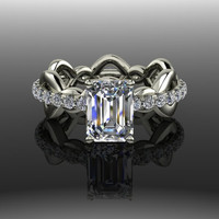 Forever Brilliant Moissanite and Diamond Emerald Cut Engagement Ring 2.47 CTW