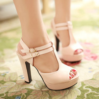 Fashion Platform Peep Toe Outdoor Heels Sandals