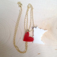 I Love Minnesota Heart and State Charm Necklace on Delicate 18-inch Gold Chain Custom Colors with Gift Box Included