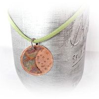 Crescent Moon Necklace, Handmade Copper Moon Pendant, Celestial, Mixed Metal Jewelry