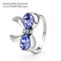 Neoglory Austria Crystal & Auden Rhinestone Finger Ring Cute Purple Bowknot Shaped Platinum Plated Youthful Style For Girls