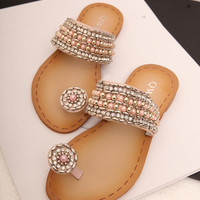 Rhinestone and Beads Flat Sandals QWF12f