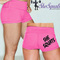 """She Squat Clothing Pink Gym Shorts with 2.5"""" inseam, HIDDEN POCKET"""