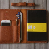 Rustic Yellow iPad Air Case hand stitched Leather Portfolio, Extra Large Moleskine notebooks Cover Sleeve, All in one design from CPS
