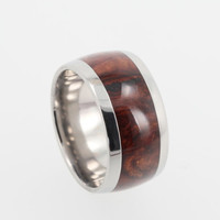 Premium Honduran Rosewood Burl Wood Band, Mens Titanium Ring, Ring Armor Included