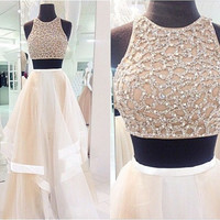 Sleeveless Beaded Two Piece A-Line Prom Dresses Evening Dresses