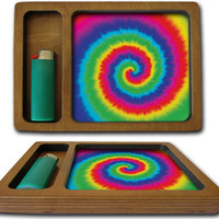 Rainbow Tie Dye Weed Rolling Tray Matte Black Option Now available! Rolling Trays, Weed Trays, Cannabis