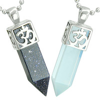 OM and Yin Yang Love Couple Amulet Crystal Points Blue Goldstone Simulated Opalite Pendant Necklaces