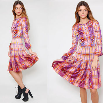 Vintage 70s PSYCHEDELIC Mini Dress Mod Long Sleeve Purple Floral Print OP ART Plaid Pleated Dress