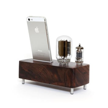 iPhone 5/5S reclaimed wood stand handcrafted from walnut wood with vintage glass tubes