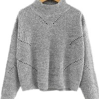 Grey Collar Eyelet Detail Sweater