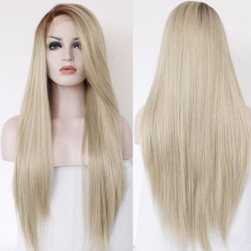 Angela - Ombre Straight Heat Resistant Light Brown To Blonde Color Synthetic Lace Front Wigs