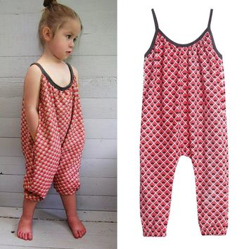 Toddler Kids Baby Girls Straps Printing Rompers Jumpsuits Piece Pants Clothing