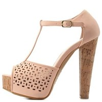 Peach Bamboo Perforated T-Strap Platform Heels