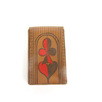Case for playing cards genuine leather vintage new old stock gift for him soviet era 80s