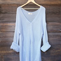 super oversized knit sweater tunic - sky blue