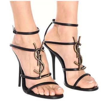 YSL Fashion New Letter Personality Shopping High Quality High Heels Shoes Women