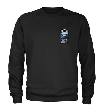 Embroidered I Want To Believe Alien Patch (Pocket Print) Adult Crewneck Sweatshirt