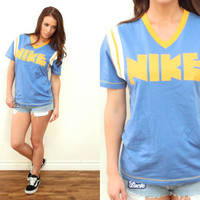 Vintage 70s NIKE PINWHEEL Athletic Jersey V Neck Blue Yellow T Shirt Tee // Hipster Grunge Street Style // XS / Small / Medium / Large