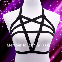 Sexy Elastic Lingerie Pentagram Harness Cage/Bra Body Cage For (Fetish bondage)