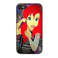 ariel little mermaid tattoo with flower cover iPhone 4 4s 5 5s 5c 6 6s plus cases
