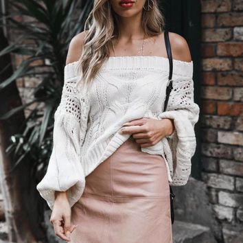 Off The Shoulder Cable Knit Seater