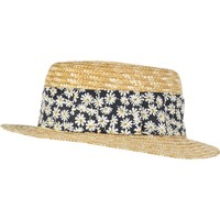 Girls straw daisy trim boater hat