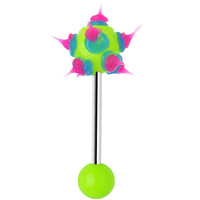 Light Green Pink Neon Silicone Spike Barbell Tongue Ring | Body Candy Body Jewelry